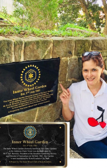 IWC of Kota Kinabalu D331, Malaysia place a plaque at the Inner wheel Garden located at the foot of the historic Atkinson Clock Tower.
