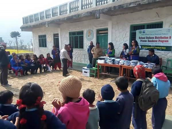 School Unifrom distribution and printer handover at Saraswoti Kunja Primary School by Inner Wheel Club of New Road Pokhara.