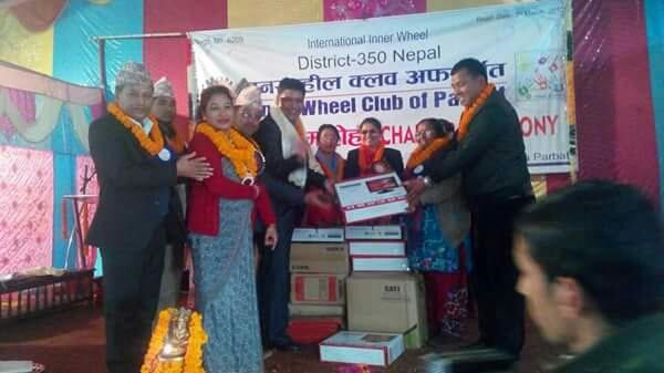 Computer distribution by Inner Wheel Club of Parbat.
