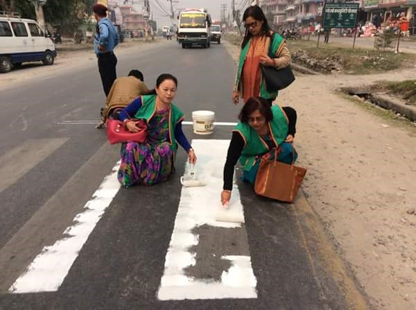 Zebra Crossing Painting organized by Inner Wheel Club of Pokhara Mid-Town.